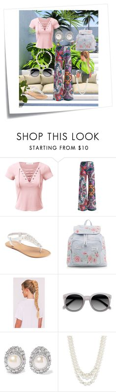 """""""Tropics"""" by alexis-kitten ❤ liked on Polyvore featuring Post-It, SONOMA Goods for Life, New Look, Kenneth Jay Lane, Anne Klein, EyeletLaceUpShortSleeveTop, Silvertonecrystalandfauxpearlearrings, WhiteroundRxSunglasses, MetallicWhiteFreshwaterPearlBracelet and HighRiseAlloverPrintWideLegPants"""
