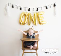 ONE Balloon Garland with Tassels Kit - First Birthday - 1st Boy or Girl Baby - Gold Letter Balloons Banner Decoration 1 - First Bday Ideas by PaperboyParty on Etsy https://www.etsy.com/listing/261138638/one-balloon-garland-with-tassels-kit