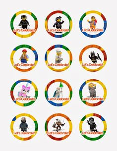 Lego Movie Cupcake Toppers - free printables, also has Peppa Pig, Frozen, DM, Sophia & others