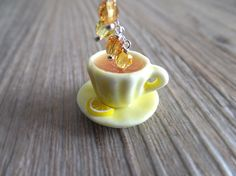 Chamomile Tea Jewelry Necklace Tea Charms Yellow Cup by LycheeKiss