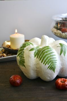 Pumpkin with leafs /