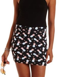 Black Combo Pineapple Print Bodycon Mini Skirt by Charlotte Russe