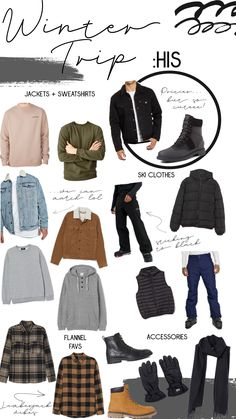 What I Want For My Winter Trip: His + Hers - Blessed and Overdressed Cold Weather Outfits For School, School Outfits, Summer Outfits, Clothing Hacks, Mens Fashion, Fashion Outfits, Winter Travel, Go Shopping, Moda Masculina