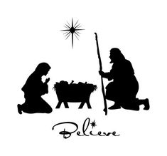 Manger scene vinyl decal displayed with glass etch by WallsThatPop - I love the font for Believe Black Nativity, Christmas Nativity, Noel Christmas, All Things Christmas, Christmas Ornaments, White Christmas, Silhouettes, Nativity Silhouette, Silhouette Cameo