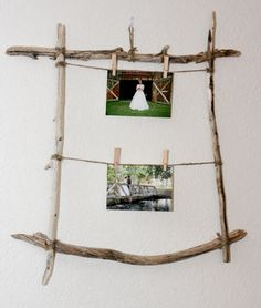 DIY Rustic Driftwood Frames....Love....I have so many pictures of us from 8 years ago to today, could do this all over the reception hall!