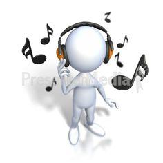 Stick Figure Listening To Music PowerPoint Clip Art