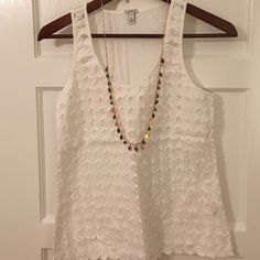 JCREW White Circle Tank Great tank for summer or layering during the colder months!  Size: X-Small.  Cotton.  Machine wash.  **the necklace is also for sale - listed in my closet  J. Crew Tops Tank Tops