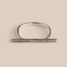 WHITE STONES LINE RING - CHERNOV JEWELLERY Silver, Weight 2.0 g