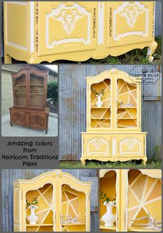 Add a little sunshine to your morning with a brightly painted hutch!