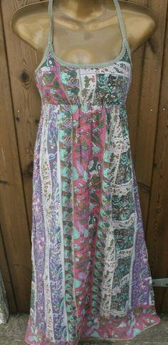 Warehouse Patchwork Boho Hippie Long Strappy Maxi Dress Size UK 8 100% Cotton Strappy Maxi Dress, White Maxi Dresses, Summer Dresses, Dashiki, Boho Hippie, Boho Dress, Chambray, Smocking, Warehouse