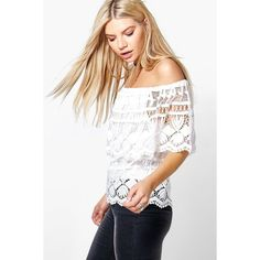 Boohoo Erin Crochet Woven Off The Shoulder Top ($30) ❤ liked on Polyvore featuring tops, ivory, metallic crop top, white off shoulder top, white body suit, white lace top and white off the shoulder top