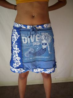 Upcycled Tshirt Skirt North Shore Dive by CindyliciousClothing, $40.00