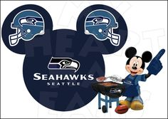 Seattle Seahawks football with Mickey Mouse INSTANT DOWNLOAD digital clip art :: My Heart Has Ears