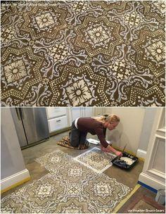 DIY Painted Concrete Floor in Kitchen Decorating - Royal Design Studio Tile Floor Stencils