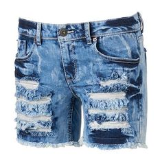 Mudd® Destructed Cutoff Midi Jean Shorts - Juniors