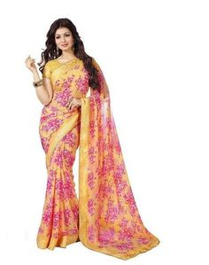 Yellow Color Georgette Saree - Ay-All-Yellow-57   #sarees #look #looking #popular #offers #design #amazing #trend #look #collection #beautiful #womens #design #amazing #saree #sari #fashionable #design #sarees
