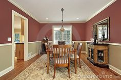 Photo about Dining room in suburban home with two toned walls. Image of suburban, floor, luxury - 12627226 Dining Room Paint Colors, Kitchen Wall Colors, Dining Room Walls, Living Room Paint, Burgundy Walls, Two Tone Walls, Halloween Home Decor, House Colors, Decoration