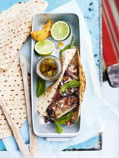 {Lime and tequila marinated chicken with chilli tortillas.}