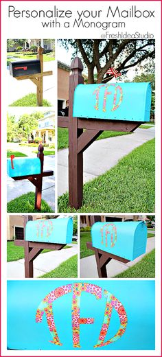 Bump up your Curb Appeal with a happy Mailbox Makeover at Fresh Idea Studio #DIY #monogram #mailboxmakeover