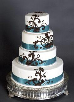 brown blue round layered wedding cake loveeeee it