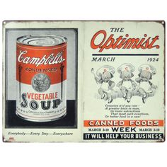 Reproduction vintage metal sign, brings back to life a 1924 image for your retro kitchen decor $24.95