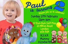 Personalised Iggle Piggle In The Night Garden Birthday Party Invitations