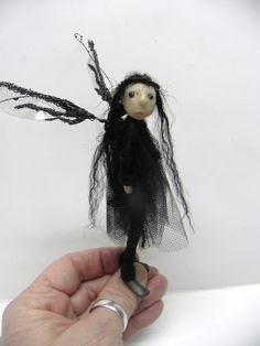 ooak pose-able pale skin little girl FAIRY black hair (27) art doll by DinkyDarlings