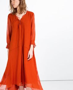 LONG OVERSIZED DRESS from Zara - With a belt, maybe?