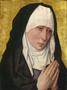 Mater Dolorosa (left wing, Christ and Virgin Triptych) - Dieric Bouts (workshop). c.1470-75. Oil on wood. 36.8 x 27.8 cm. The National Gallery, London, UK.