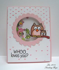 Simon Says Stamp stencil, Hero Arts Lil Hoot Scrapbook Cards, Scrapbooking, Scrapbook Albums, Owl Punch Cards, Valentine Love Cards, Owl Card, Pretty Pink Posh, Window Cards, Marianne Design