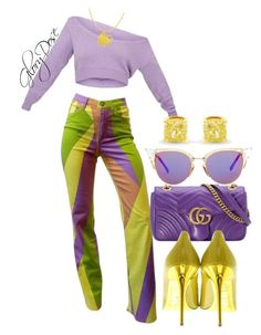 """Untitled #310"" by chichimia on Polyvore featuring Versace, Gucci, Jimmy Choo and Fendi"