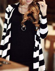 Stylish Striped Loose-Fitting Long Sleeve Hoodie For Women