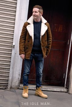 Tan & Blue | Mix up blue and tan with dark wash jeans, navy sweater, tan over shirt and of course the classic Timberland. | Shop men's clothing at The Idle Man