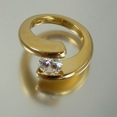 Gold Tension Set Helix Ring