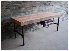 Urban Wood Goods - Industry Coffee Table/TV Media Stand - Made of reclaimed, old growth wood from dismantled buildings in Chicago and barns in the Midwestern US.