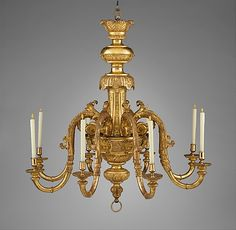 Chandelier Attributed to John Gumley (ca. 1670–1726) Maker: Attributed to James Moore (died 1729) Date: ca. 1710–15 Culture: British Medium: Gilt gesso on wood; gilt metal mounts