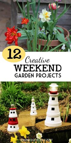 Here's 12 creative garden projects you can complete in a weekend. Most of them take just a couple of hours or less and all of them are low-cost using repurposed or inexpensive materials. Come see how you add a little charm to your garden.