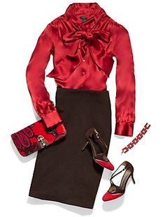 Talbots - the accessories are what really catches the eye with this ensemble.  Love those shoes!
