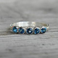 London Blue Topaz Five Stone RIng in Argentium  by onegarnetgirl, $163.00 @Heather Mitchell