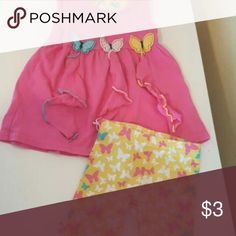 butterfly tank and biker shorts Pink and yellow short set. minor wear on shorts bottom Dresses
