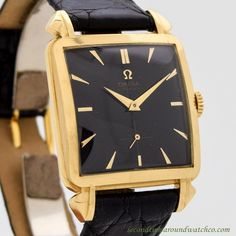 1950 Vintage Omega Rare 18k Yellow Gold Large Square watch with Black Dial with Applied Elongated Beveled Arrow Markers. Triple Signed. Case Excellent Condition Case Original, Original Bezel, Original