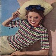 Vintage knitting patterns- vintage 1940s patchwork jumper knitting pattern- great stitch for using up odds and ends of yarns pdf