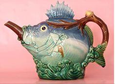 Majolica International Society image from the Karmason Library. Minton Majolica Spiny Fish Tea Pot. 1870's.