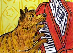 NORWICH TERRIER PIANO picture DOG ART PRINT 8x10