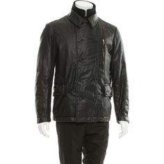 Pre-owned McQ by Alexander McQueen Coated Double-Breasted Jacket ($175) ❤ liked on Polyvore featuring men's fashion, men's clothing, black, mens clothing and men's apparel