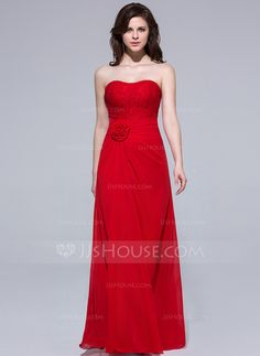 Sheath/Column Sweetheart Floor-Length Chiffon Lace Bridesmaid Dress With Ruffle Flower(s) (007037167)