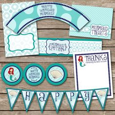 Mermaid Party Printable JPEG (Cupcake Topper and Wrapper, Water Bottle Labels, Thank You Notes, Treat Bags, Banner)