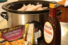 Slow Cooker Barbecue Chicken    Yield – 8 servings    Preparation Time – 5 minutes    Cooking Time – 5-6 hours  Ingredients        1 bag (3 lbs) frozen chicken tenderloins (adjust for your family size)      1 bottle barbecue sauce, your favorite      chopped onion, optional