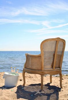 favorite chair & a bucket of beer at the beach, perfect~