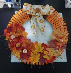 Fall Wreath made with Clothes Pins and leafs! Fall Mesh Wreaths, Christmas Mesh Wreaths, Diy Fall Wreath, Wreath Crafts, Christmas Crafts, Ribbon Wreaths, Tulle Wreath, Floral Wreaths, Winter Wreaths